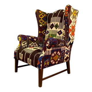 1940s Vintage Turkish Kilim Cover Danish Wing Chair For Sale