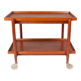 Vintage Danish Modern Teak Tea Service Bar Cart by Poul Hundevad For Sale