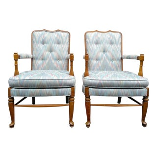 A Pair - Vintage Flame Stitch Arm Chairs For Sale