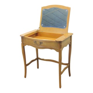 French Provincial Fruitwood Flip Mirror Vanity For Sale
