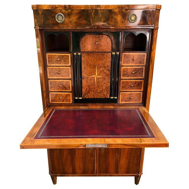 Gorgeous Biedermeier Mixed Wood and Red Leather Secretary Cabinet For Sale - Image 13 of 13