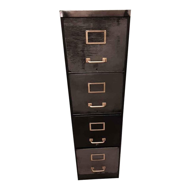 Late 20th Century Vintage Steel Filing Cabinet With Brass Handles For Sale