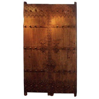 Chinese Elm and Metal Garden Gate Doors - a Pair For Sale