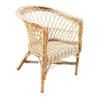 Vintage French Children's Wicker Chair For Sale