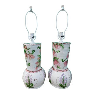 Hand Painted Floral Lamps - a Pair