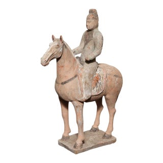 7th-10th Century Tang Dynasty Terracotta Statuette of a Horse with Rider For Sale