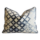 """Image of Ombre Blue & White Check Linen & Velvet Feather/Down Pillow 24"""" X 18"""" For Sale"""