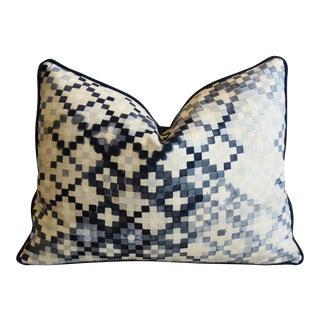 "Ombre Blue & White Check Linen & Velvet Feather/Down Pillow 24"" X 18"" For Sale"