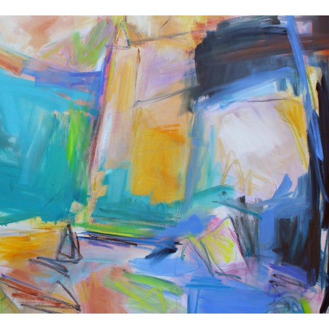 """Abstract """"Remembering Bermuda"""" by Trixie Pitts Extra-Large Abstract Oil Painting For Sale - Image 3 of 9"""