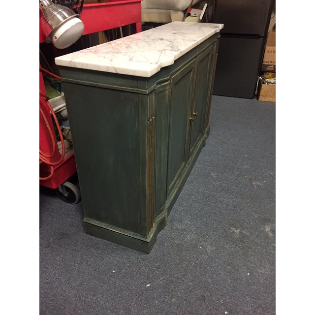 1950s Shabby Chic Marble Top Green Console Table For Sale In West Palm - Image 6 of 11