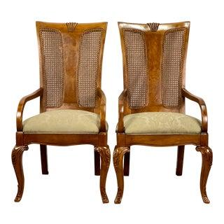 Vintage Burl Veneer Thomasville Furniture Birdseye Caned Dining Chairs - Pair For Sale