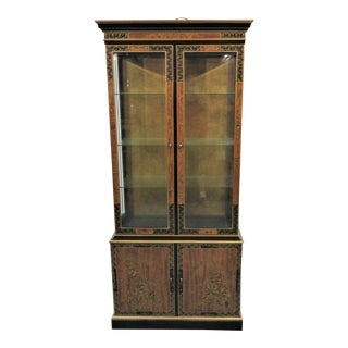 "Drexel ""Et Cetera"" Chinoiserie Black Lacquer Fruitwood China Cabinet For Sale"