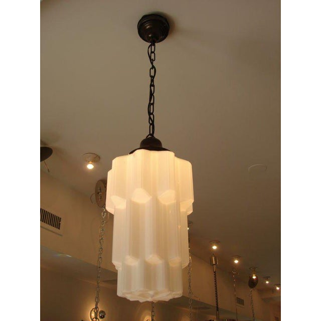 1920s Deco Era Milk Glass Hanging Light For Sale In New York - Image 6 of 6