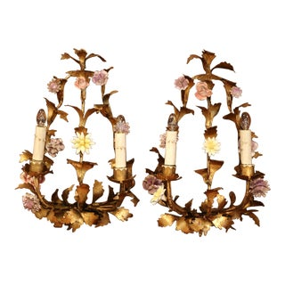 Pair of 20th Century French Two-Light Gilt Wall Sconces With Porcelain Flowers For Sale