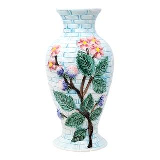 Vintage Italian Hand-Painted Light Blue Ceramic Basketweave Floral Vase For Sale