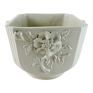 20th Century Cottage White Majolica Planter For Sale