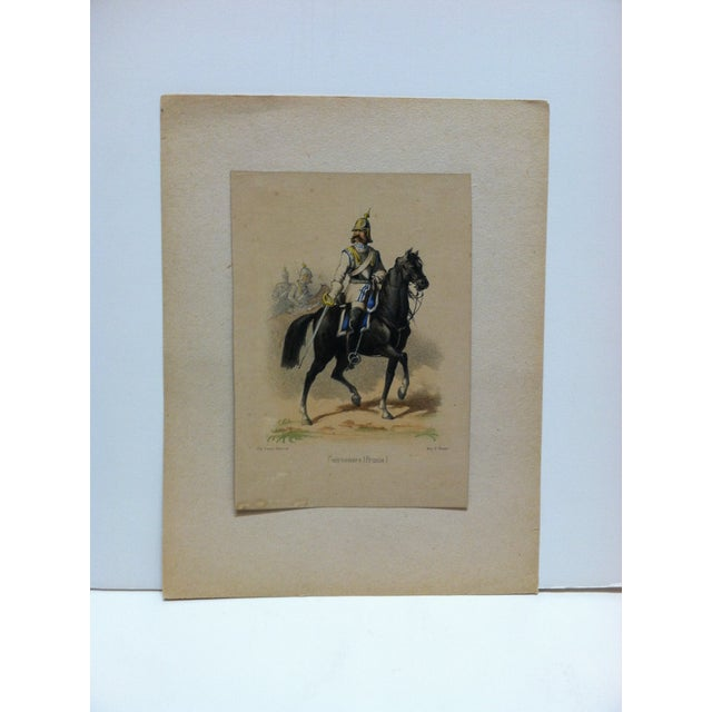 "Mid 19th Century Mid 19th Century Antique E. Simon ""Cuirassiers (Prusse) Hand-Colored Print For Sale - Image 5 of 5"