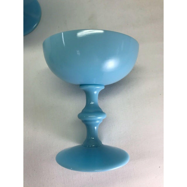 Art Nouveau Antique Portieux Vallerysthal Blue Opaline Champagne Glasses/Goblets - Set of 5 For Sale - Image 3 of 4