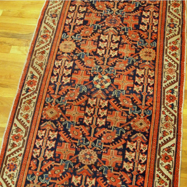 Red 1900s Handmade Antique Persian Malayer Runner 3.1' X 12.3' For Sale - Image 8 of 9