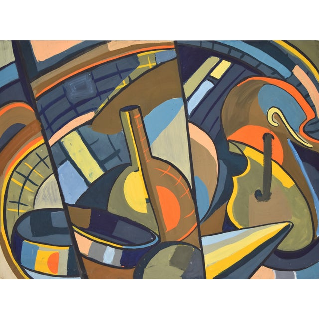 "Richard ""Dick"" Lindsey Fort (American, 1922 - 2016) Untitled, circa 1950 Cubist gouache painting on artist's board..."
