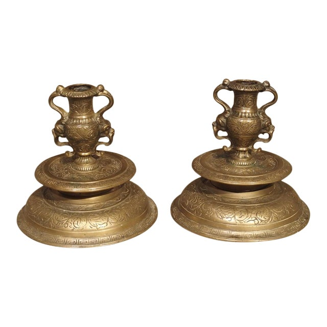 Pair of Antique French Renaissance Style Bronze Candlesticks, 19th Century For Sale