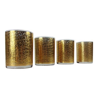 Culver Gold Alligator Embossed Tumblers Glasses Gold Mid Century - Set of 4 For Sale