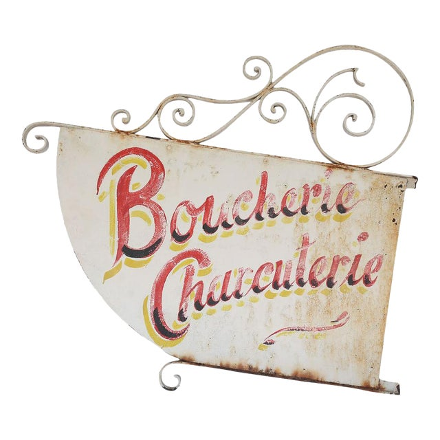 Vintage French Boucherie Charcuterie Shop Sign For Sale