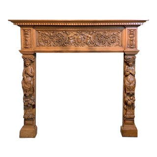 Renaissance Revival Ornately Carved Oak Mantel With Eagles, Ram Heads and Mermaids For Sale