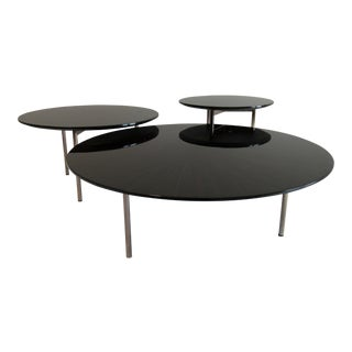 Italian Modernist Macassar Ebony, High Gloss Modular Cocktail Table - Set of 3 For Sale