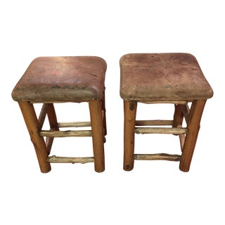 Vintage Max Hand Taos Deerskin Leather Cedar Wood Log Stools - a Pair For Sale