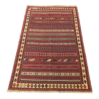 "1990s Vintage Tribal Soumakh Rug- 6'6"" X 4'1"" For Sale"
