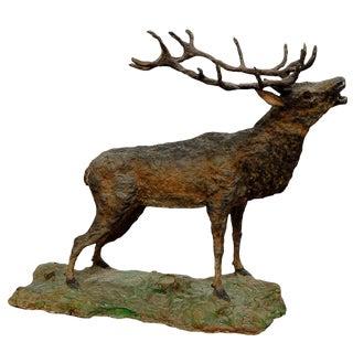Large Rustic Papier Maché Stag Sculpture For Sale