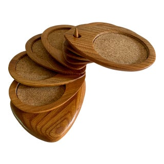 Danish Modern Sculptural Organic Teak Set Coasters With Stand For Sale