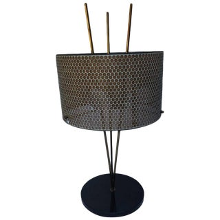 Tripod Style Table Lamp With Perforated Shade For Sale