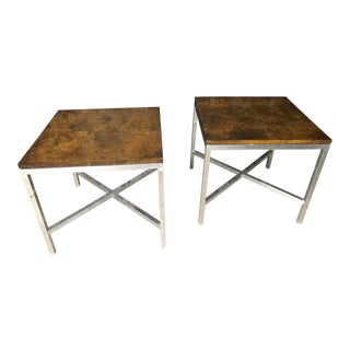 Pair of Burl & Chrome Modern Tables by Tomlinson For Sale
