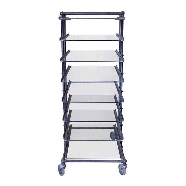 Eight Glass Black Shelf Storage Unit For Sale - Image 6 of 6