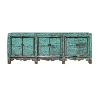 Chinese Distressed Aqua Green Finish High Credenza Console Buffet Table For Sale