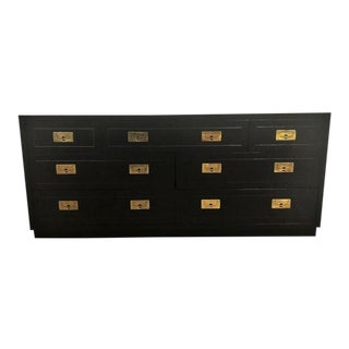 Henredon Black Lacquered Campaign Style Dresser For Sale