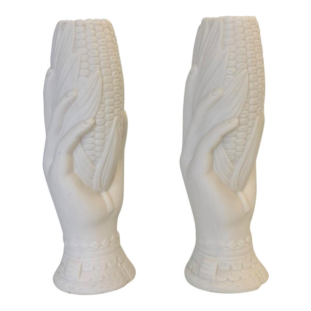 19th Century French Victorian White Parian Porcelain Hand Vases - a Pair For Sale