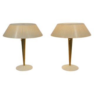 1960s Mid-Century Modern Gerald Thurston for Lightolier Brass Table Lamps-a Pair For Sale