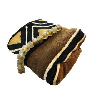 African Brown/Mustard/Black/White Mud Cloth/ Blanket Mali W/Glass Trade Beads For Sale