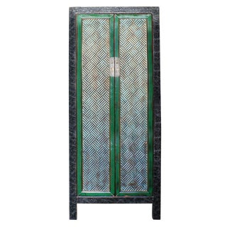Chinese Distressed Green Blue Armoire For Sale