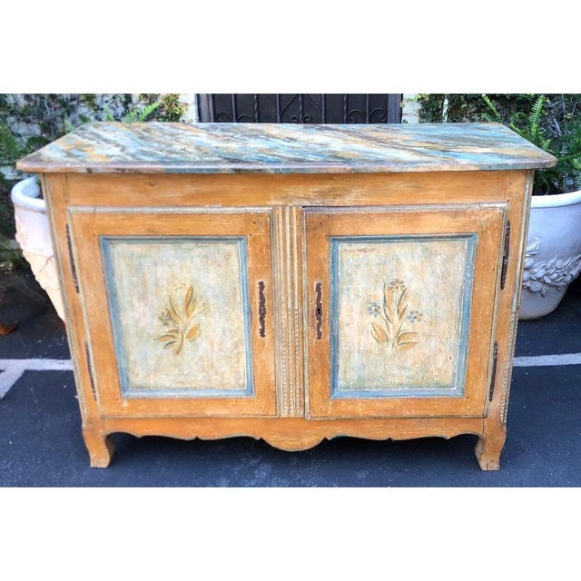 Italian Antique Italian 18th C Tuscan Paint Decorated Sideboard Buffet W Trompe l'Oeil For Sale - Image 3 of 7