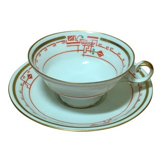 20th Century Traditional Furstenberg Off-White Porcelain Cup and Saucer - a Set