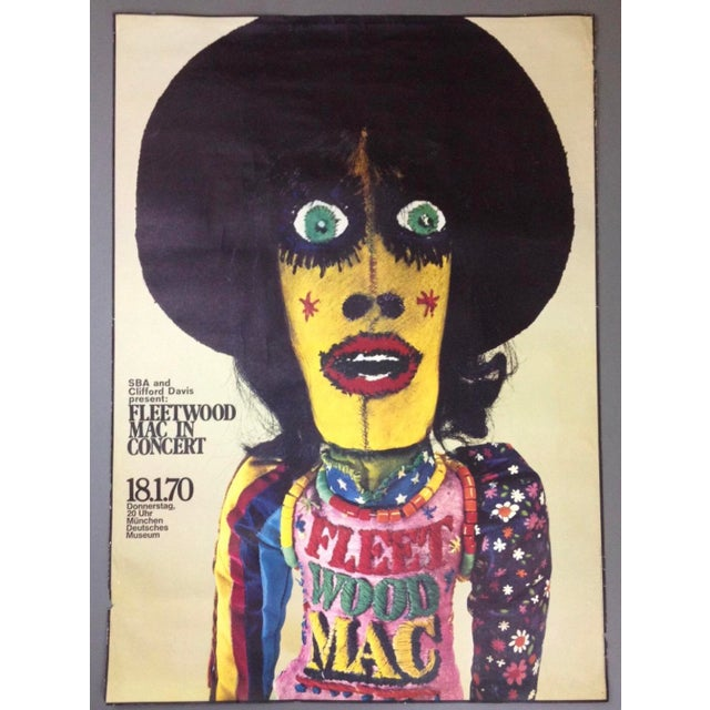 Original Art Poster 1970 Fleetwood Mac Concert Poster by Gunther Kieser RARE Fleetwood Mac Original Concert Poster The...