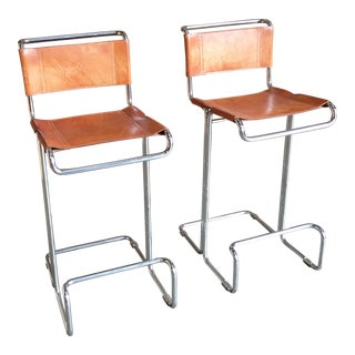 Stendig Leather & Chrome Barstools - A Pair
