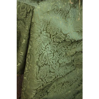 Italian Fabric 17th C. Silk Damask Textile 1600's Green Canopy Top 62x74 Large For Sale