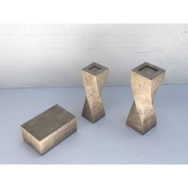 "1970s tessellated travertine box with velvet lining and sculptured candlesticks by Maitland Smith. Box- 5.25"" high 12""..."