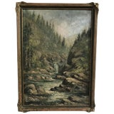 Image of Mountain River Scene Landscape Painting, American Early 20th Century For Sale