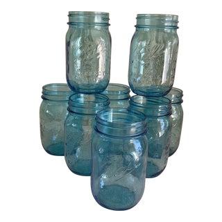 Blue Ball Retro Glass Tumblers, Glasses Set of Eight For Sale